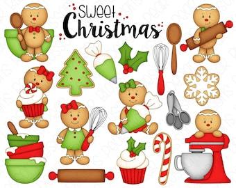Gingerbread Bakery Sweet Christmas Clipart Set - Hand Drawn Digital Clipart - Christmas Baking, Gingerbread Man - Item# 9236
