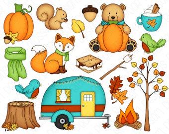 Fall Camping Clipart Set - Hand Drawn Digital Clipart - Fall Bear, Fall Fox, Squirrel, Camper - Item# 9233