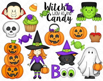 Halloween Trick or Treat Clipart Set - Hand Drawn Digital Clipart - Witch Ghost Candy Dracula Frankenstein Jack O'Lantern - Item# 9238