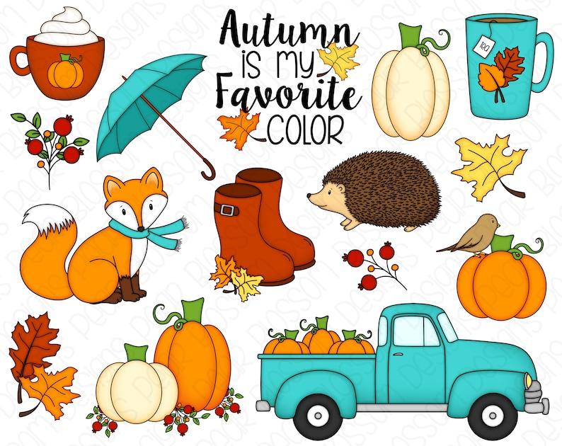 Autumn Hand Drawn Digital Clipart  Set of 15  Autumn Fall image 0