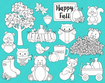 Happy Fall Digital Stamps, Digistamps, Clipart - Instant Download - 7108