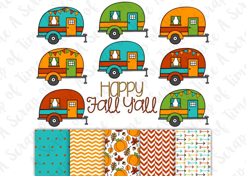 Fall Campers Hand Drawn Digital Clipart & Paper  Set of 14  image 0