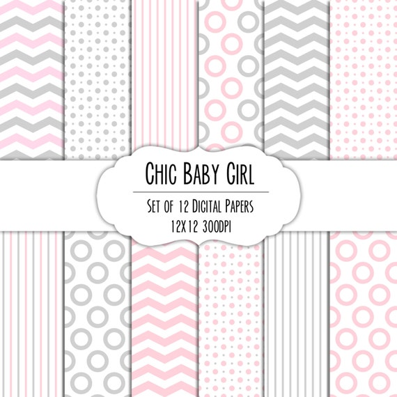 Chic Baby Girl Cotton Candy Pink And Gray Digital Scrapbook Etsy