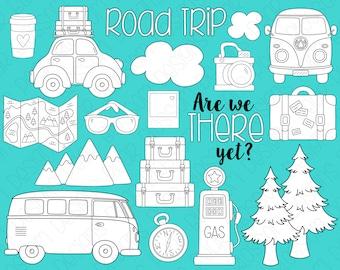 Road Trip Digital Stamps, Digistamps, Clipart - Instant Download - 7099