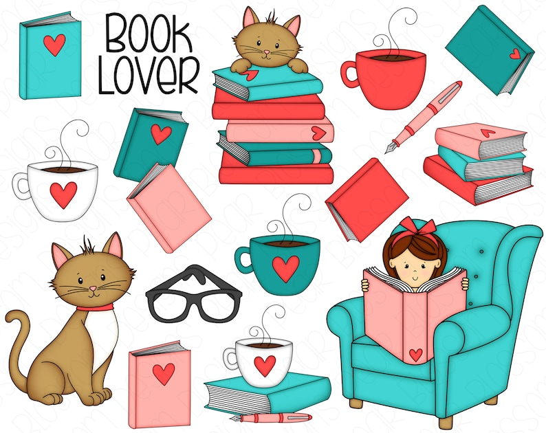 Book Lover Hand Drawn Digital Clipart  Set of 16  Coffee image 0