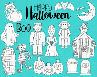 Halloween Monsters Digital Stamps, Digistamps, Clipart - Instant Download - 7104