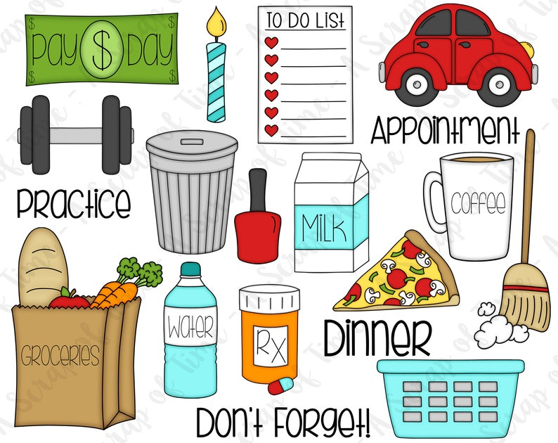 Day to Day Digital Clipart  Set of 19  Groceries Laundry image 0