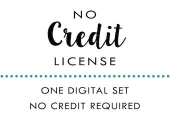 No Credit License - 1 Digital Clipart, Stamp or Paper Set