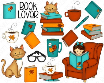 Fall Book Lover Hand Drawn Digital Clipart - Set of 16 - Autumn Coffee, Books, Cat, Glasses, Reading - Instant Download - Item #9215