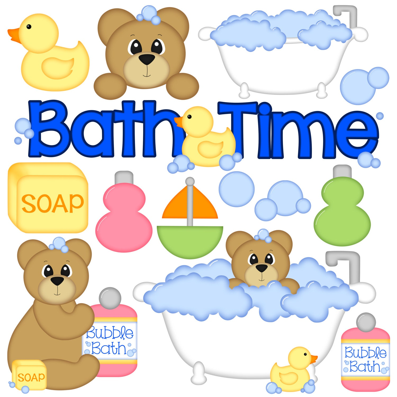 Bath Time Digital Clipart Set of 14 Bath Tub Bear