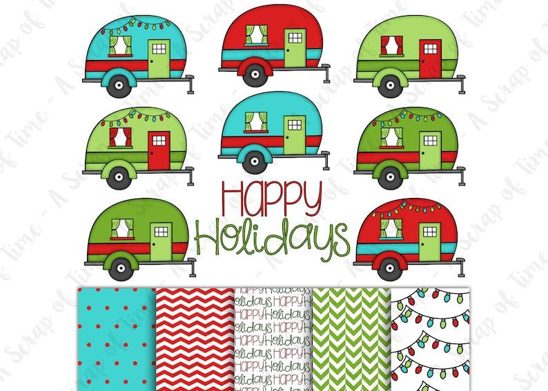 Happy Holidays Camper Hand Drawn Digital Clipart & Paper  Set image 0
