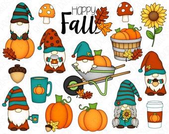 Fall Gnomes Hand Drawn Digital Clipart - Set of 16 - Gnomes Pumpkin Sunflower Pumpkin Spice Coffee - Instant Download - Item #9214