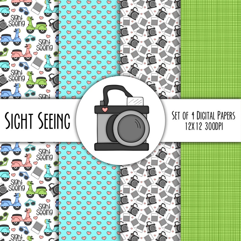Sight Seeing Vacation Hand Drawn Digital Paper Mini Pack  Set image 0