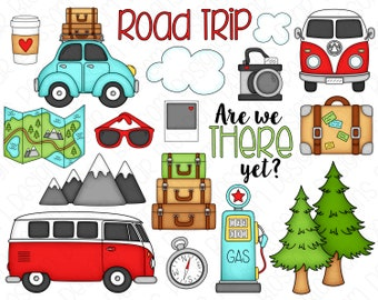 Road Trip Clipart Set - Hand Drawn Digital Clipart - Camper Bus, Mountains, Trees, Suitcase, Gas Pump, Camera, Sunglasses - Item# 9232