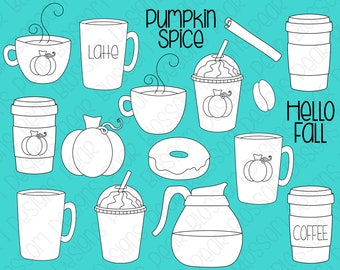 Pumpkin Spice Coffee -  Digital Stamps, Digistamps, Clipart - Instant Download - 7105