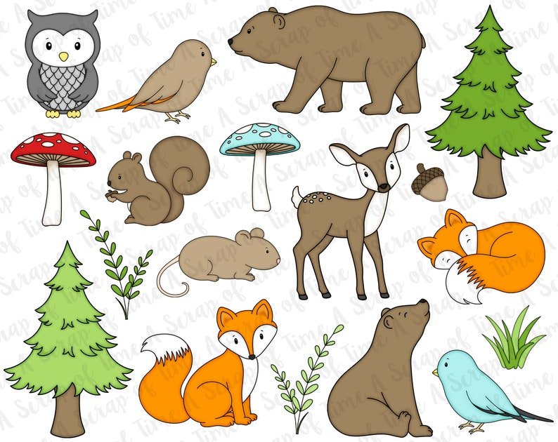 Woodland Animals Digital Clipart  Set of 18  Bear Fawn image 0