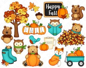 Happy Fall Clipart Set - Hand Drawn Digital Clipart - Squirrel, Bear, Owl, Fall Pumpkins - Item# 9239