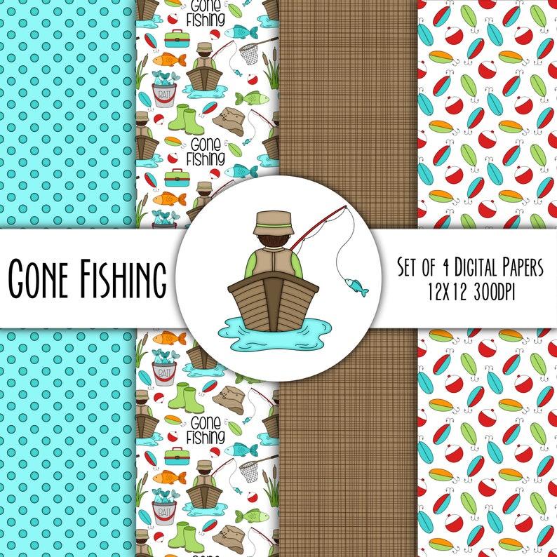 Gone Fishing Hand Drawn Digital Paper Mini Pack  Set of 4  image 0