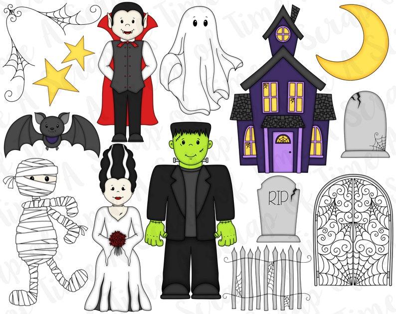 Halloween Digital Clipart  Set of 15  Frankenstein Dracula image 0