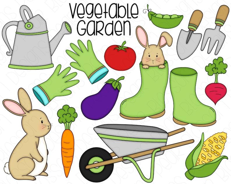 Vegetable Garden Hand Drawn Digital Clipart  Set of 16  image 0