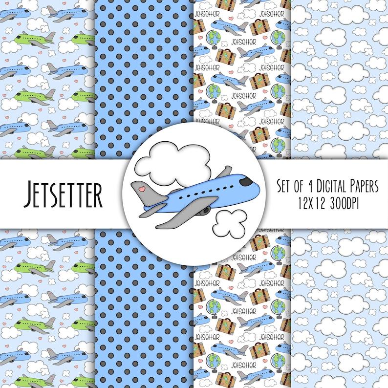Jetsetter Vacation Hand Drawn Digital Paper Mini Pack  Set of image 0