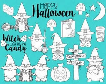 Halloween Gnome Witches Digital Stamps, Digistamps, Clipart - Instant Download - 7102