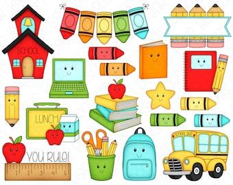 School Faces Clipart Set - Hand Drawn Digital Clipart - School Days, Elementary School, Kawaii School, Back to School - Item# 9237