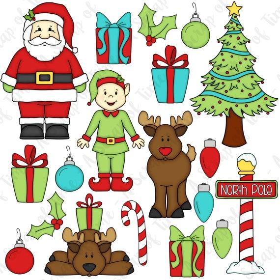 Cute Christmas Reindeer ClipartDigital downloadMistletoeDecorationsSanta/'s helpersgiftsSleigh rideFestive seasonHoliday art