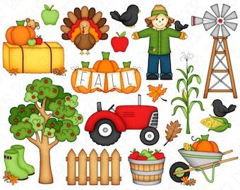 Fall Farm Clipart Set - Hand Drawn Digital Clipart - Fall Tractor, Turkey, Crow, Pumpkins, Apple, Windmill - Item# 9234