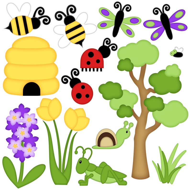 Bug Digital Clipart  Set of 14  Honey Bee Ladybug image 0