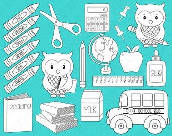 School Days -  Digital Stamps, Digistamps, Clipart - Instant Download - 7106