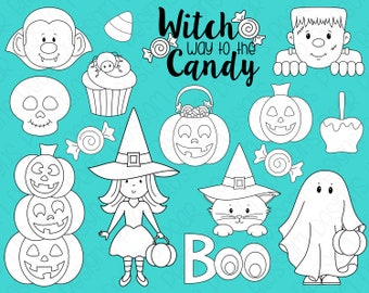 Halloween Trick or Treat Digital Stamps, Digistamps, Clipart - Instant Download - 7107