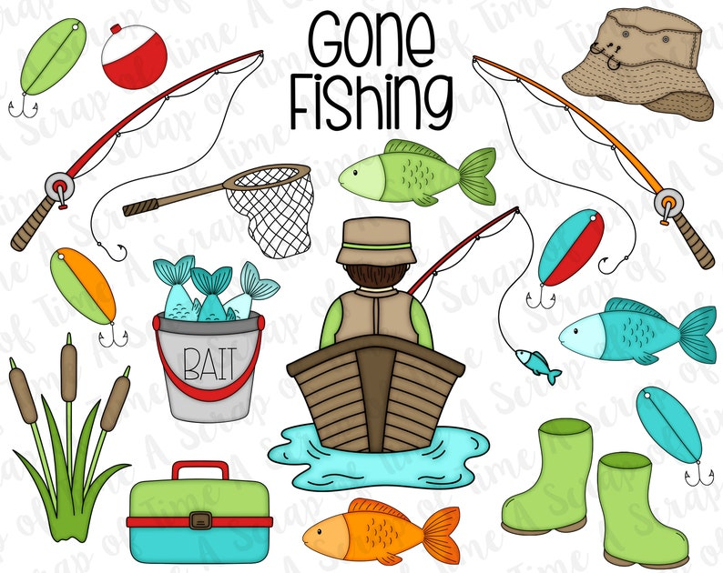 56462d4703b Gone Fishing Digital Clipart Set of 19 Fisherman