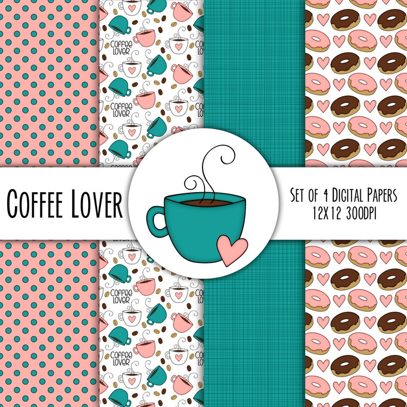 Coffee Lover Hand Drawn Digital Paper Mini Pack  Set of 4  image 0