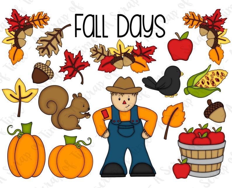 Fall Days Hand Drawn Digital Clipart  Set of 18  Autumn Fall image 0