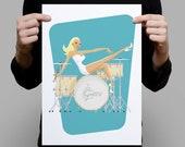 On Drums A Pinup A3 Artprint