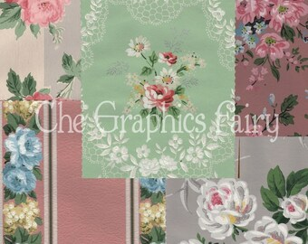 SALE - Vintage Wallpaper Pack 10 Sheets- No. 1
