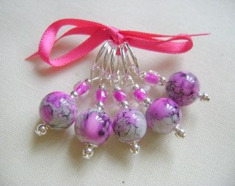 Rose Grey Marbled Glass Stitch Markers for Knitting or Crochet