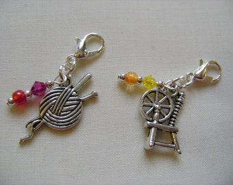 Spin a Yarn Progress Markers/Stitch Markers for Knitting or Crochet set of 2