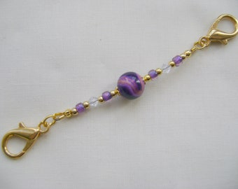Purple Gold Swirl Stitch Marker Holder