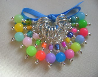 Rainbow Bright Stitch Markers for Knitting or Crochet