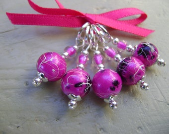 Fuchsia Pink Art Glass Stitch Markers for Knitting or Crochet
