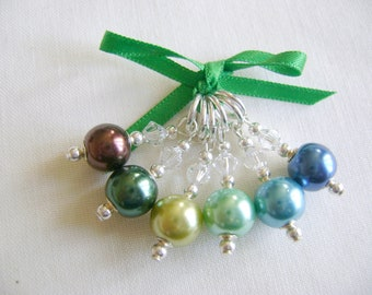 Forest Green Stitch Markers for Knitting or Crochet