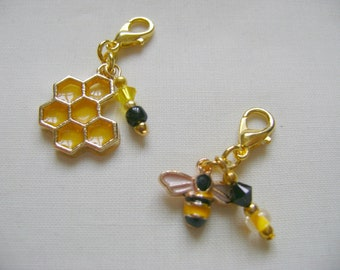 Honey Bee Progress Markers/Stitch Markers for Knitting or Crochet set of 2