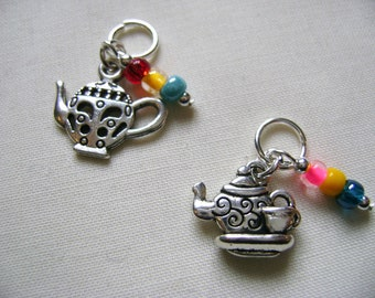 Teapots Progress Markers/Stitch Markers for Knitting or Crochet set of 2