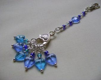 Blue Heart Stitch Marker Holder and Stitch Markers for Knitting or Crochet