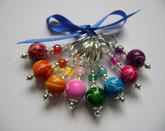 Acrylic Rainbow Squiggle Stitch Markers for Knitting or Crochet