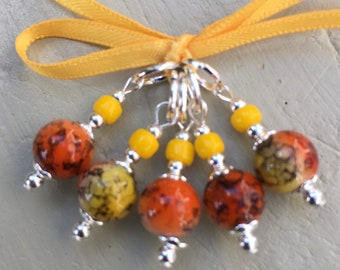 Sunset Marbled Art Glass Stitch Markers for Knitting or Crochet