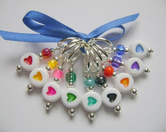 Rainbow Hearts Stitch Markers for Knitting or Crochet