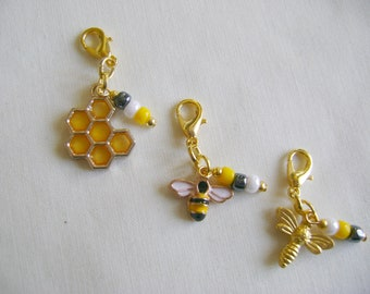 Honey Bee Progress Markers/Stitch Markers for Knitting or Crochet set of 3